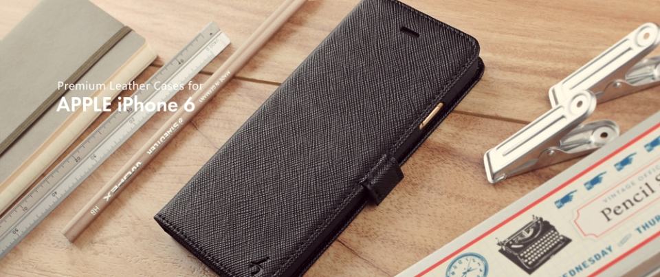 Black Apple iPhone 6 Leather Side Flip Phone Case