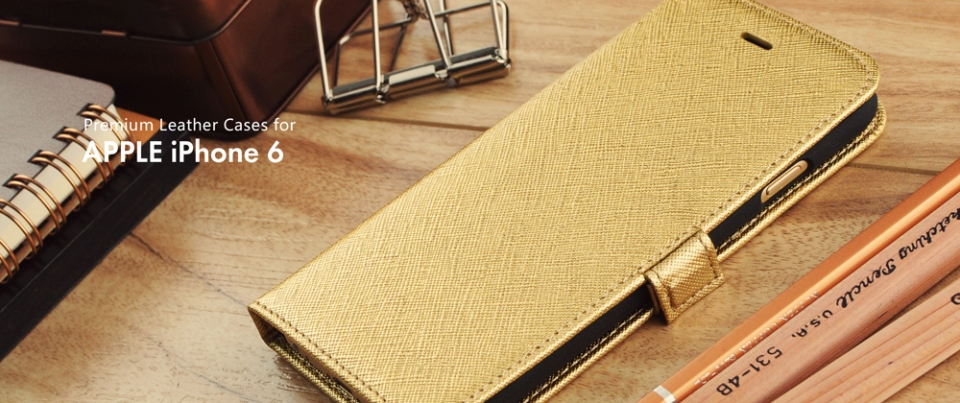 Gold Apple iPhone 6 Leather Side Flip Phone Case