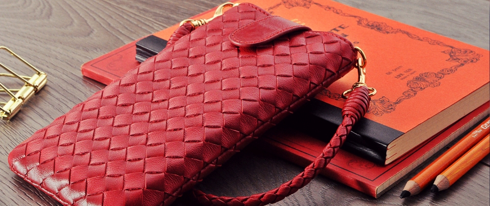 Woven lambskin leather pouch for smartphones