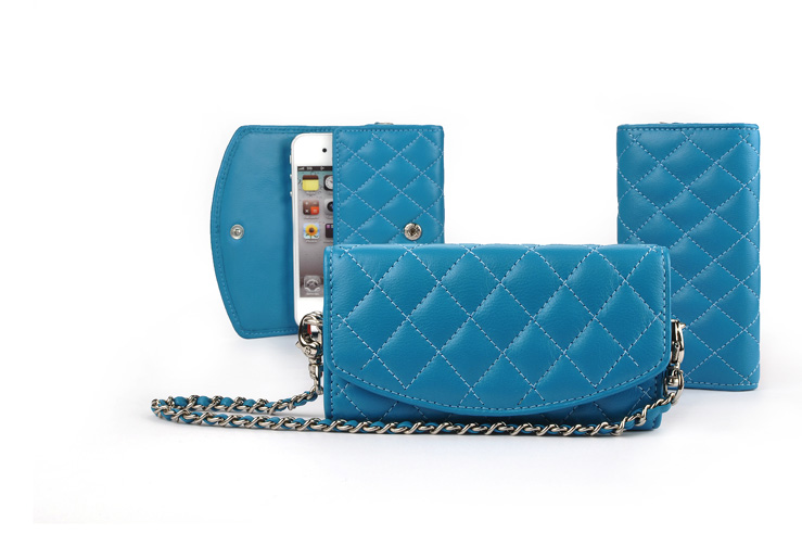 quilted pattern leather pouch or clutch for your favorite smartphone