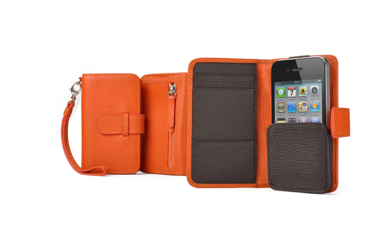 Folio book-style leather wallet phone case