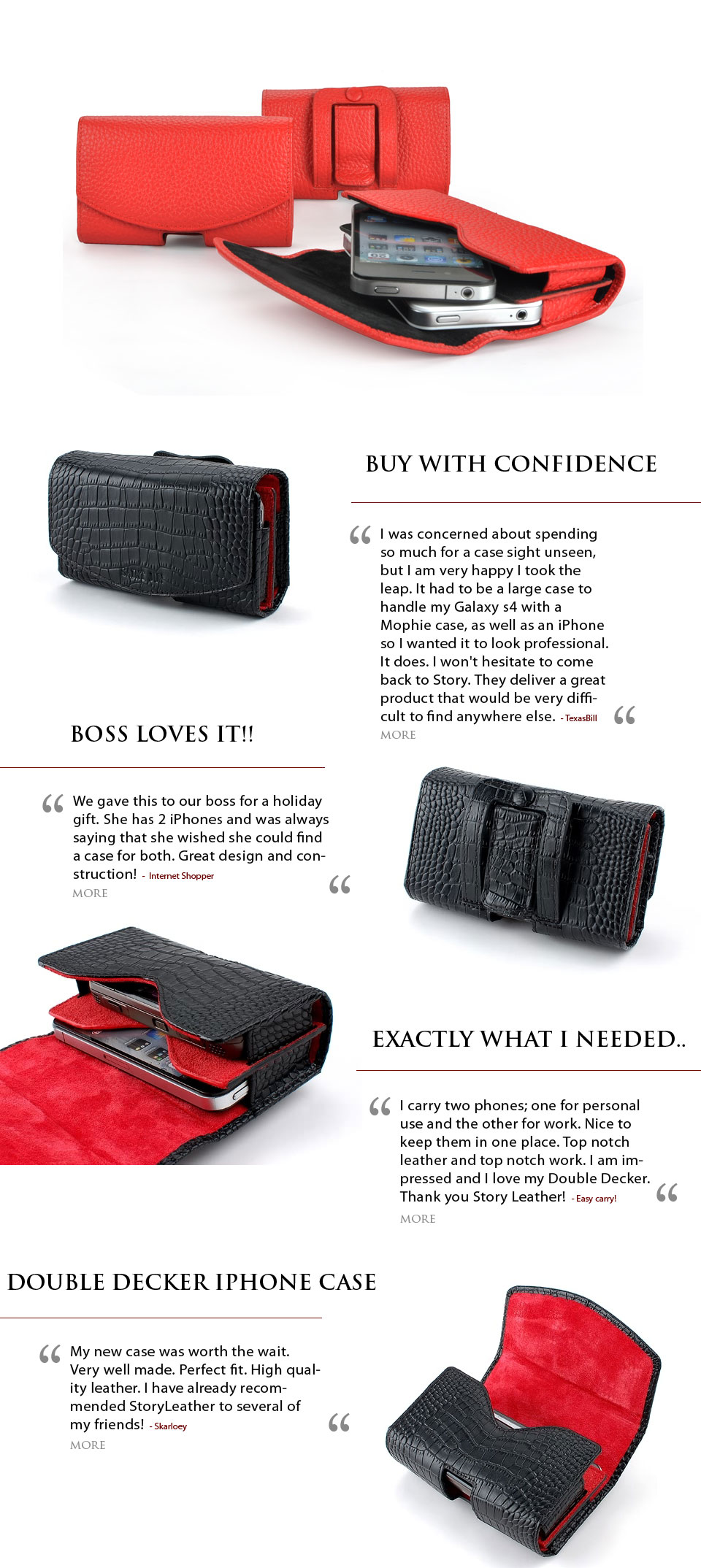 Double Decker leather holster belt clip case for carrying 2 smartphones