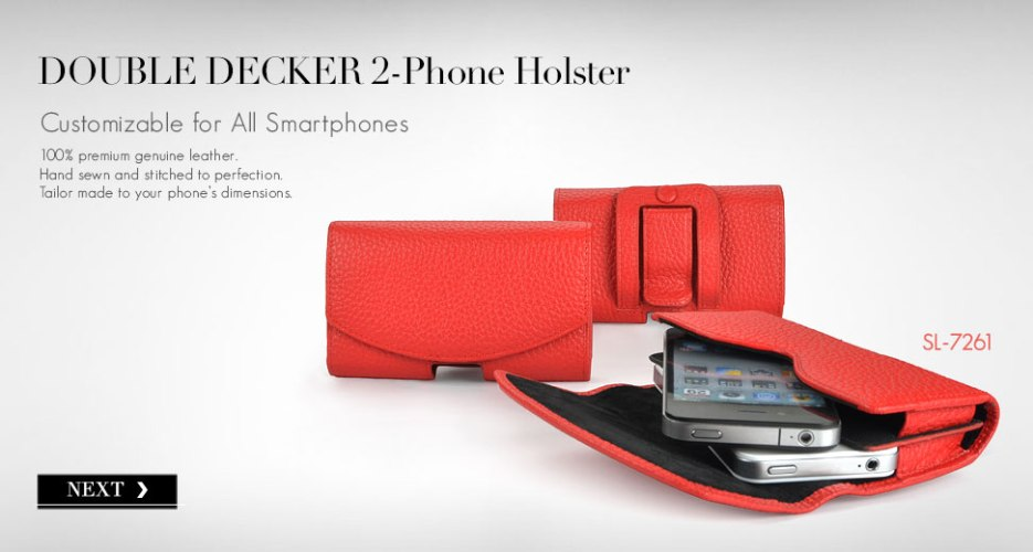 Double Decker Leather Holster for 2 Phones.