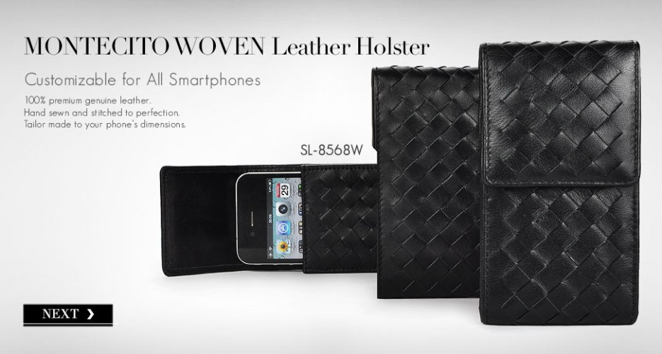 Montecito Long Leather Holster Case with Woven Pattern. Customizable for All Smart Phone Devices.