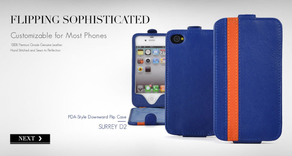 Surrey D2 Down Flip Leather Case. Customizable for Most Popular Smart Phones