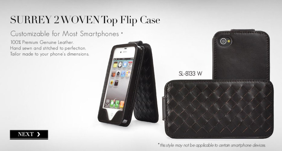 Surrey 2 Upward Flip Leather Case with Woven Pattern. Customizable for Most Popular Smart Phones