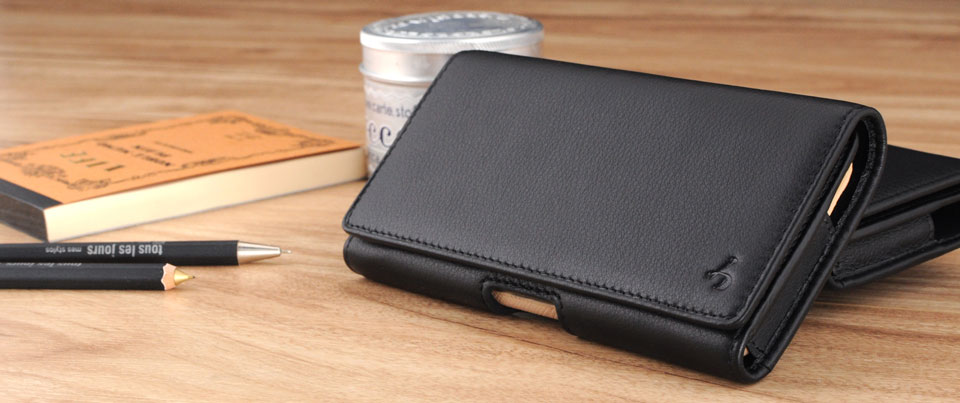 Black Apple iPhone 7 Leather Phone Holster Pouch Case with Belt Clip