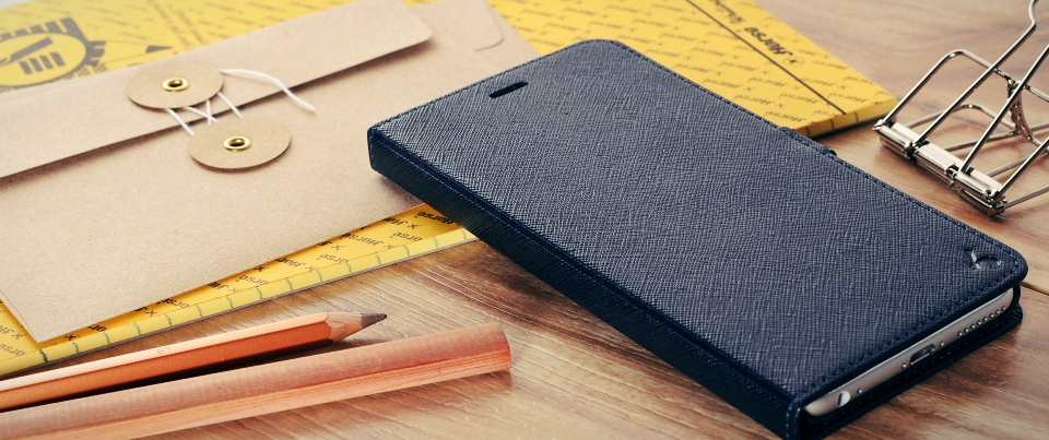 Purple Apple iPhone 6 Plus Leather Side Flip Phone Case