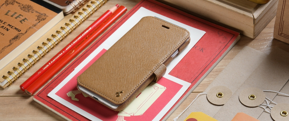 Camel Saffiano Leather Apple iPhone 7 Wallet Phone Case