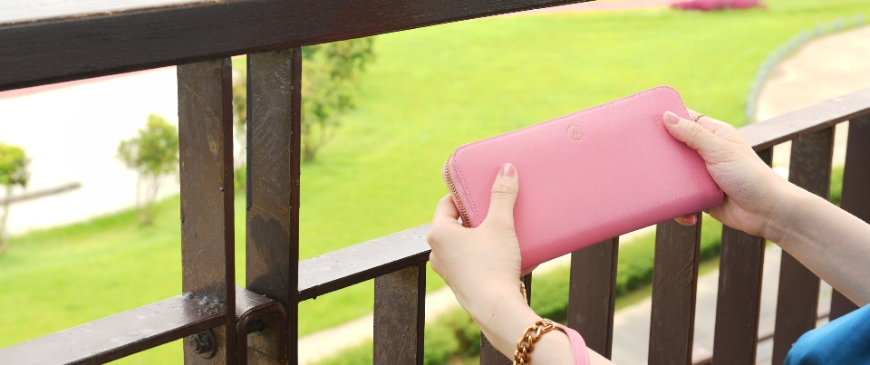 Blossom Pink Calfskin Smooth Fine Grain Genuine Leather Wristlet Long Wallet