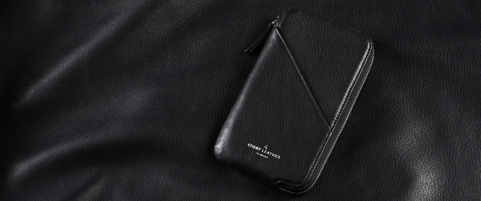 Black Apple iPhone 7 Plus Leather Zipper Pocket Wallet