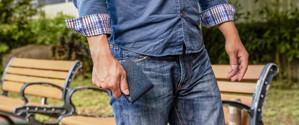 Navy Blue Cross Grain Genuine Leather Slim Mens Wallet