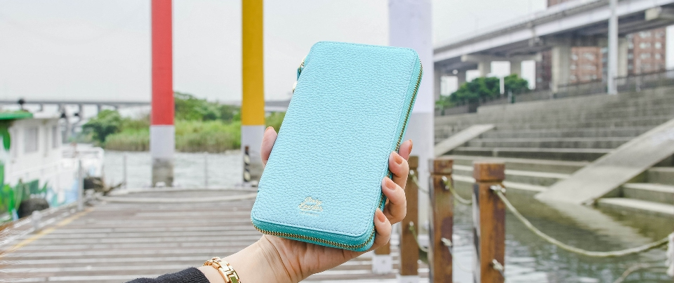 Teal Apple  iPhone XS Max, XR, NOTE 9 Leather Zipper Travel Pocket Wallet