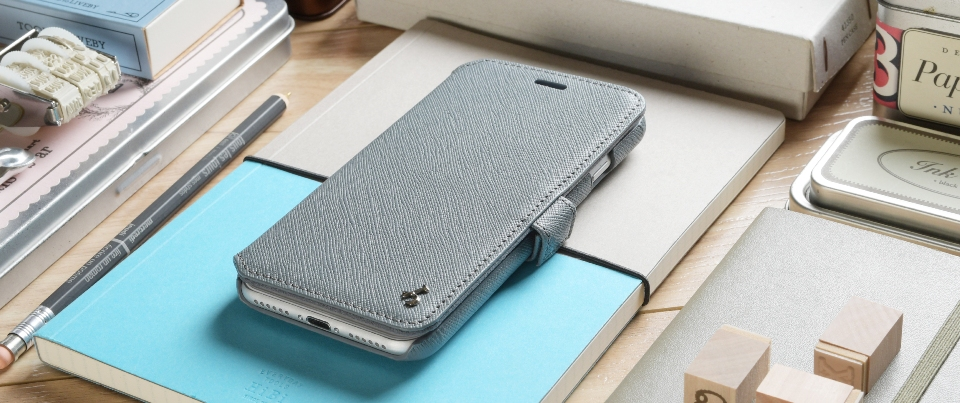 Grey Saffiano Apple iPhone 7 Plus Leather Book Style Wallet Phone Case