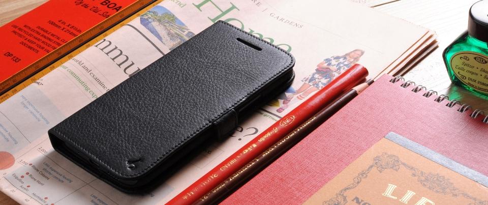 Black Genuine Napa Leather Side Flip Phone Case for HTC10