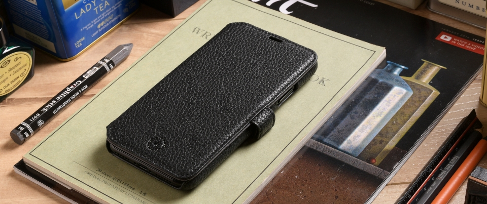 Black Apple iPhone X Leather Book Style Wallet Phone Case