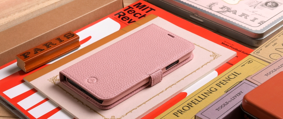 Pink Apple iPhone X Leather Book Style Wallet Phone Case