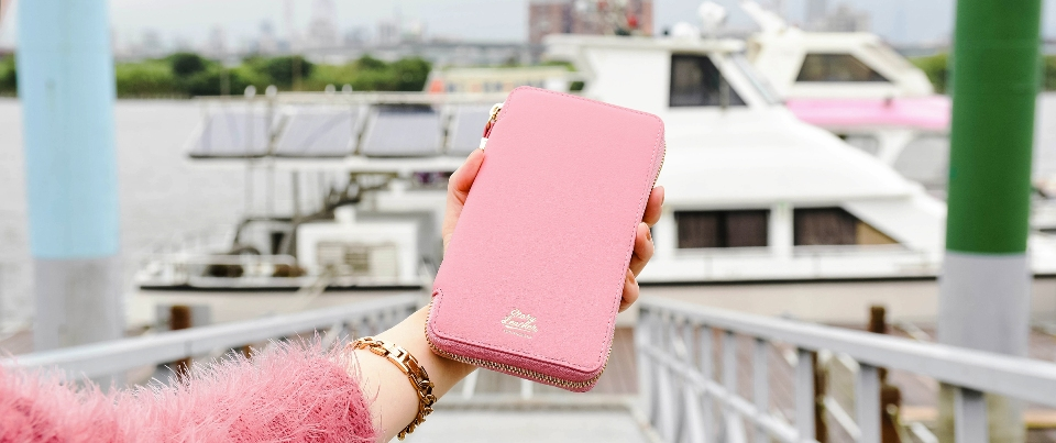 Pink Apple  iPhone XS Max, XR, NOTE 9 Leather Zipper Travel Pocket Wallet
