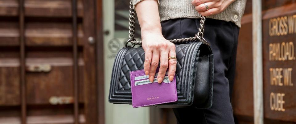 Purple Napa Leather Minimalist Journey Card Wallet