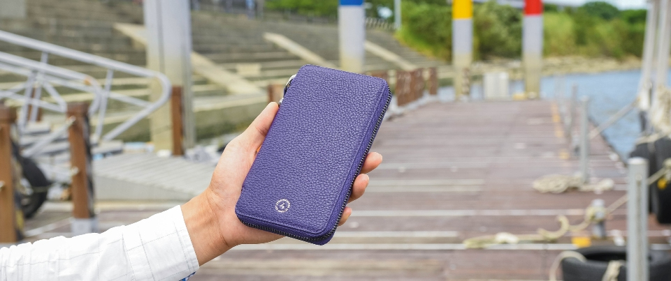 Royal Purple Apple  iPhone XS Max, XR, NOTE 9 Leather Zipper Travel Pocket Wallet