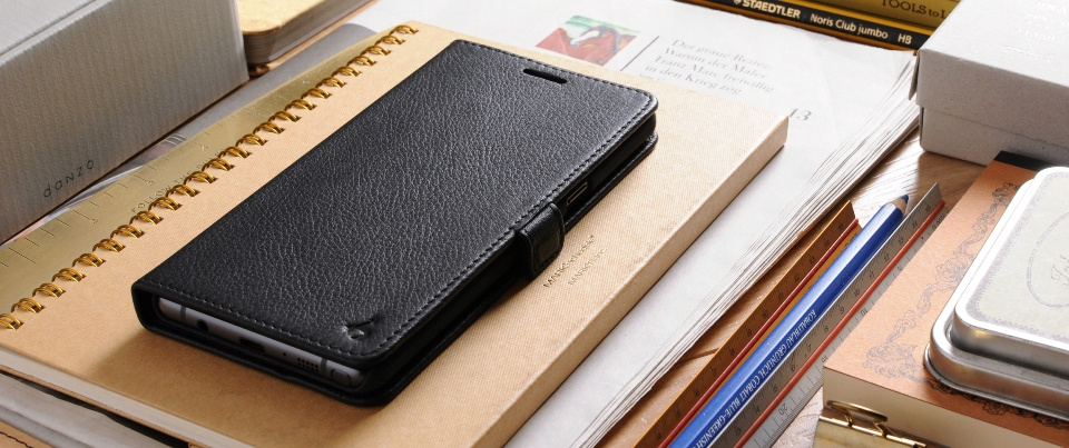 Black Galaxy Note 7 Leather Side Flip Phone Case