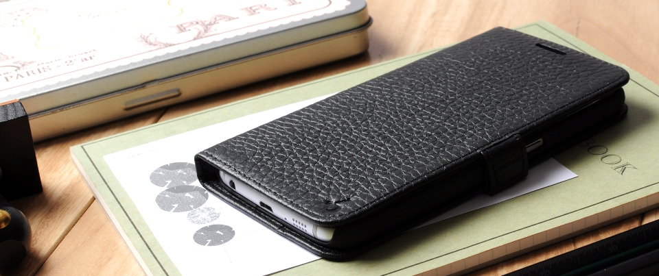 Black Pebble Grained Genuine Leather Side Flip Phone Case for Samsung Galaxy S6