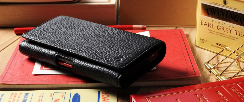 Black Apple iPhone 6 Plus Leather Phone Holster Pouch Case with Belt Clip