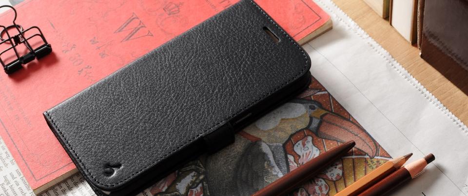 Black Genuine Napa Leather Side Flip Phone Case for Samsung Galaxy S7