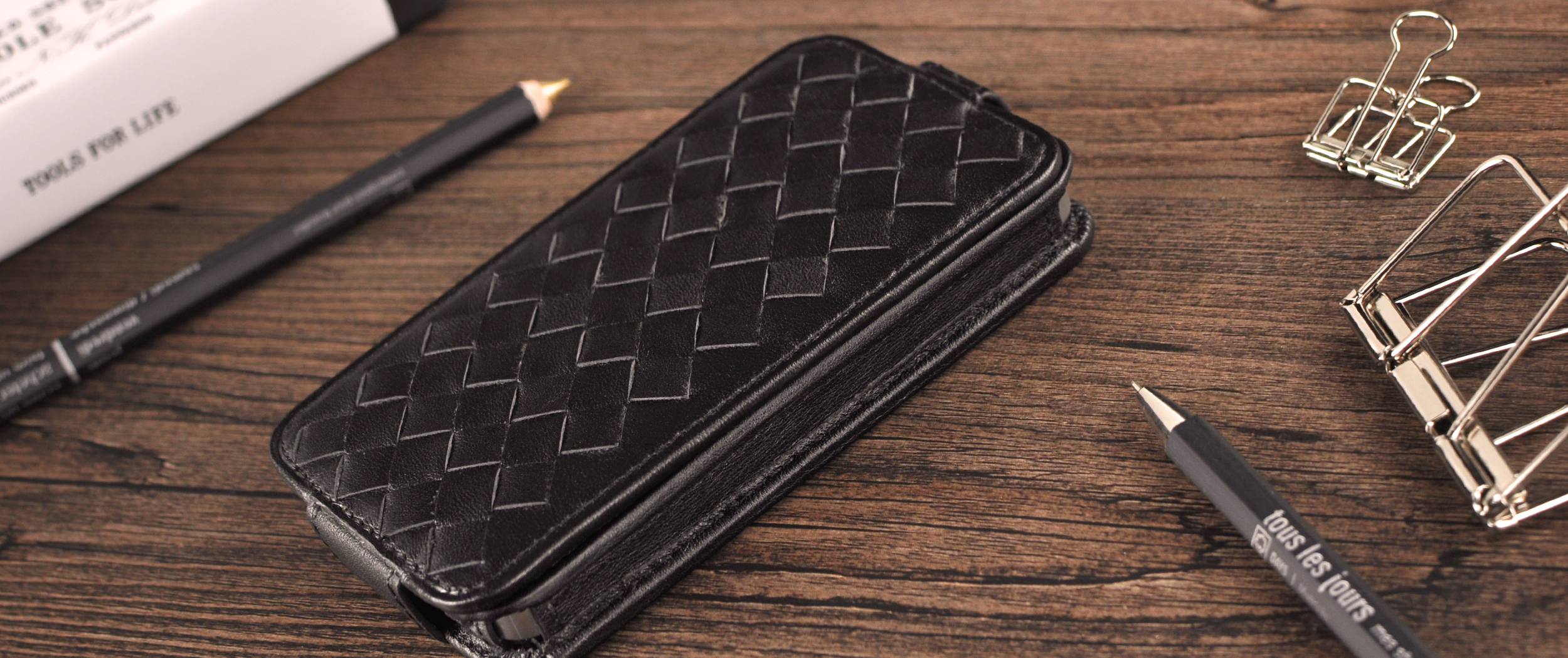 woven pattern down flip leather case