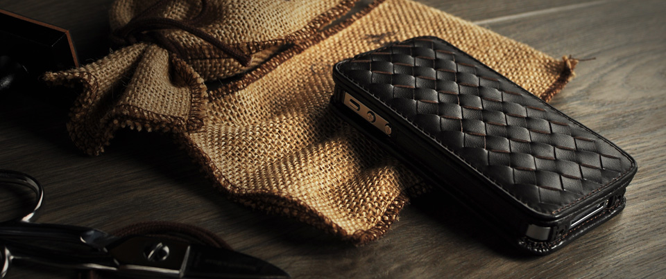 woven up-fold flip leather case for most smartphones