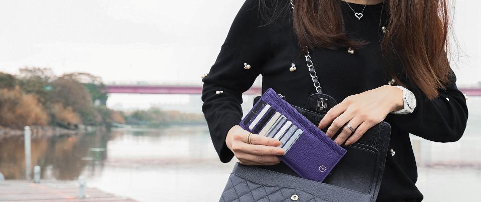 Royal Purple Pebble Grain Genuine Leather Wristlet Long Wallet