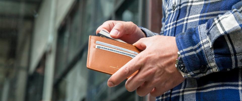Tan Napa Leather Minimalist Journey Card Wallet