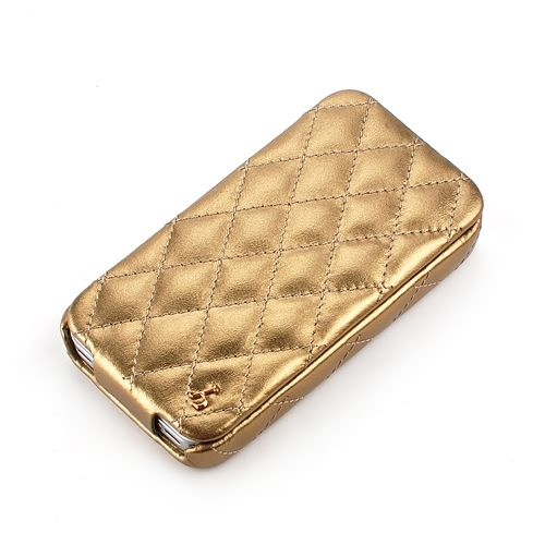 Gold Apple iPhone 4 / 4S Hard Shell Down-Fold Flip Quilt Pattern Leather Case