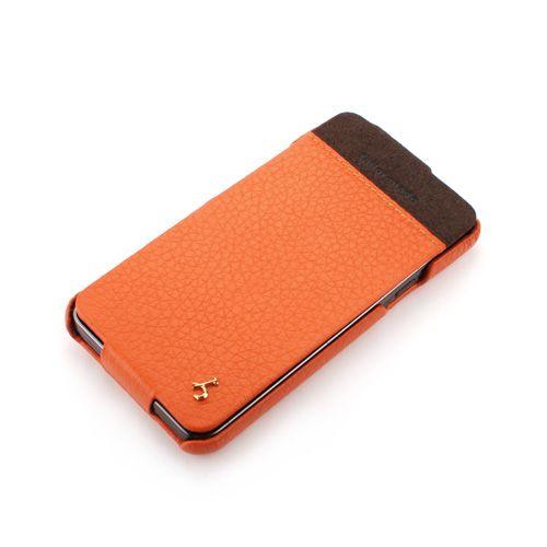 Orange Samsung Galaxy S II - i9100 Hard Shell PDA-Style Down-Fold Leather Case