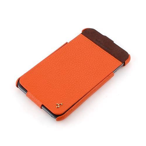 Orange Samsung Galaxy Note Hard Shell PDA-Style Down-Fold FLIP Leather Case