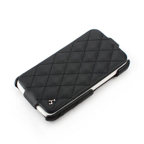 Black HTC ONE-X Hard Shell Down-Fold Flip Quilt Pattern Leather Case