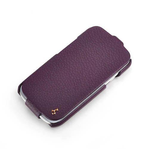 Purple Samsung Galaxy S3 FLIP Down-Fold Premium Leather Case