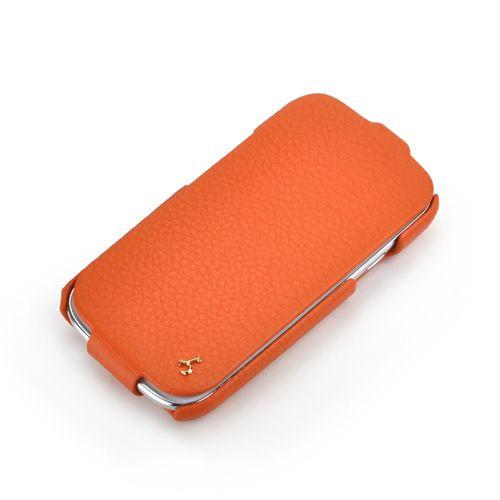 Orange Samsung Galaxy S3 FLIP Down-Fold Premium Leather Case