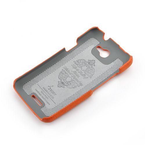 Orange HTC ONE-X Premium Leather Back Cover