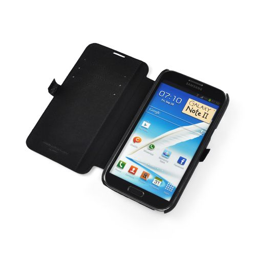 Black Premium Leather Side-Flip Leather Case for Samsung Galaxy Note 2