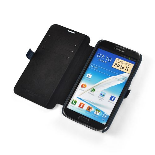 Blue Premium Leather Side-Flip Leather Case for Samsung Galaxy Note 2