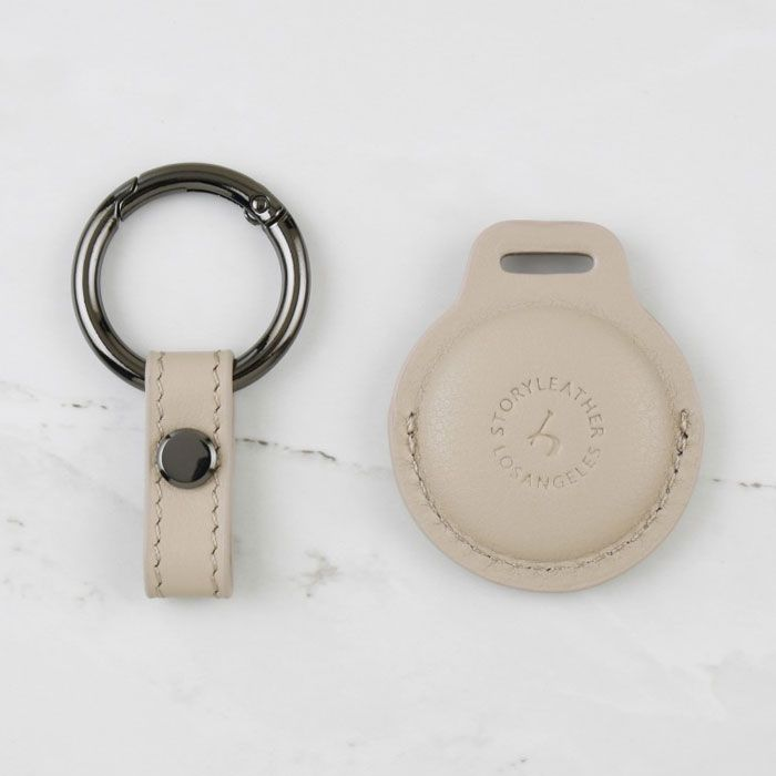 AirTag Leather Keychain - Khaki