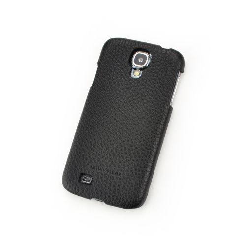 Black Genuine Leather Back Cover for Samsung Galaxy S4