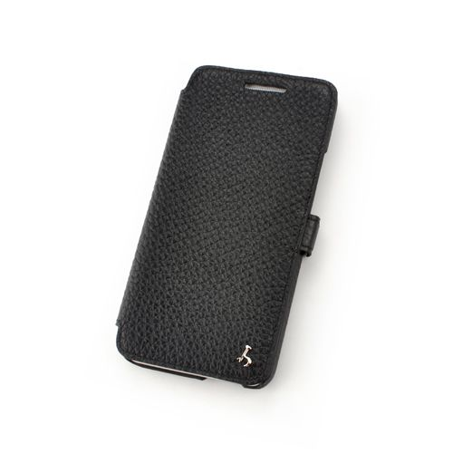 Black Premium Leather Book Style Leather Case for HTC One