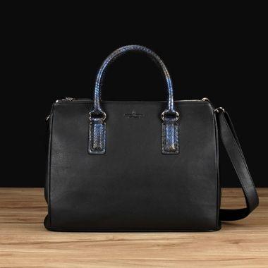 Black Italian Leather w/ Python Skin