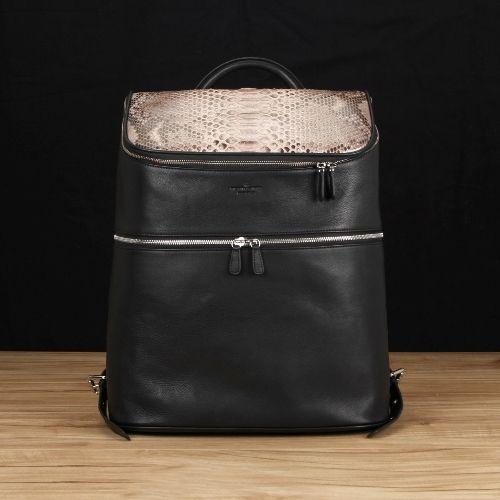 Black Italian Leather w/ Tan Python