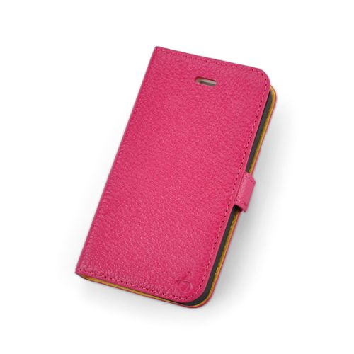 Pink Premium Genuine Leather Side Flip Leather Wallet Case for Apple iPhone 4 / 4S