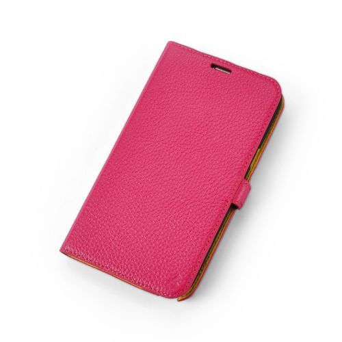 Pink Premium Genuine Leather Side Flip Leather Wallet Case for Samsung Galaxy Note 2
