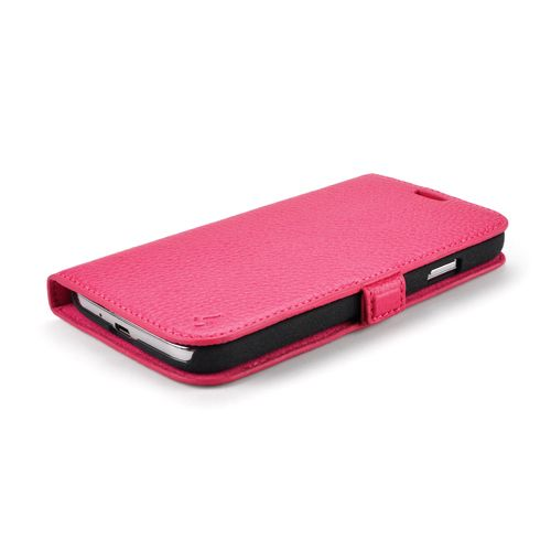 Pink Premium Genuine Leather Side Flip Leather Wallet Case for Samsung Galaxy S4