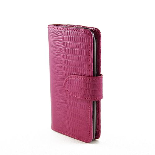 Cartera Wallet Style Hot Pink Lizard Pattern Leather Phone Case for Apple iPhone 5 - LIMITED RUN